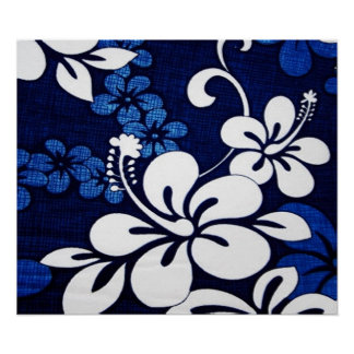 Blue Hawaii Flowers Poster