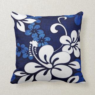Blue Hawaii Flowers Throw Pillow