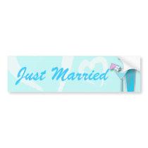Blue Hawaii Martini Beach Wedding Bumper Sticker