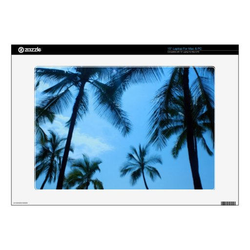 """Blue Hawaii Palm Trees 15"""" Laptop Decal"""