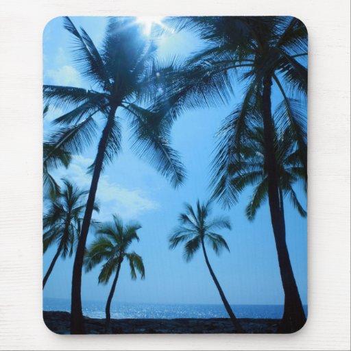 Blue Hawaii Palm Trees Mouse Pad