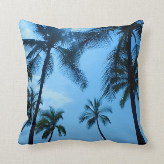 Blue Hawaii Palm Trees Pillow