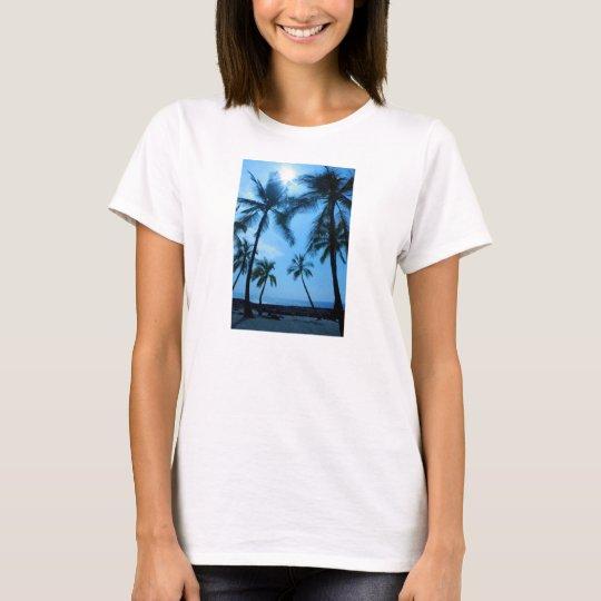 Blue Hawaii Palm Trees Women's Tshirt