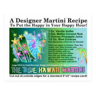 Blue Hawaii Tropical Martini Recipe Card Postcard