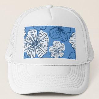 Blue Hawaiian Floral Trucker Hat