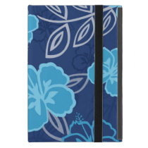 Blue Hawaiian Hibiscus Pattern iPad Mini Cover