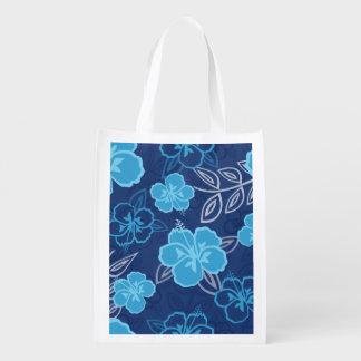 Blue Hawaiian Hibiscus Pattern Market Totes