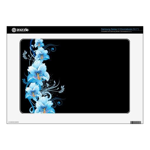 Blue Hawaiian Hibiscus Skin Samsung Chromebook Skin