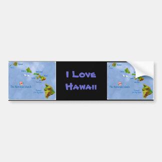 Blue Hawaiian island map bumper sticker