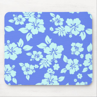 Blue Hawaiian Pattern Mouse Pad