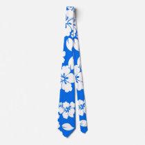 Blue Hawaiian Pattern Neck Tie