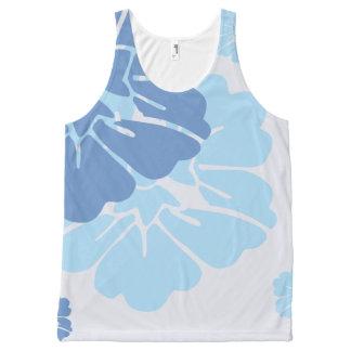 Blue Hawaiian Style Flowers All-Over Print Tank Top