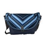 Blue Haze Chevron Fractal Geometric Abstract Courier Bag
