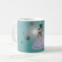 Blue Haze Snowman Happy Holidays Coffee Mug