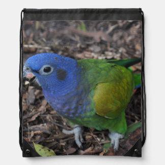 Blue Headed Amazon Parrot on ground Drawstring Bag