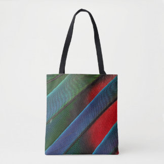 Blue Headed Parrot Feather Design Tote Bag