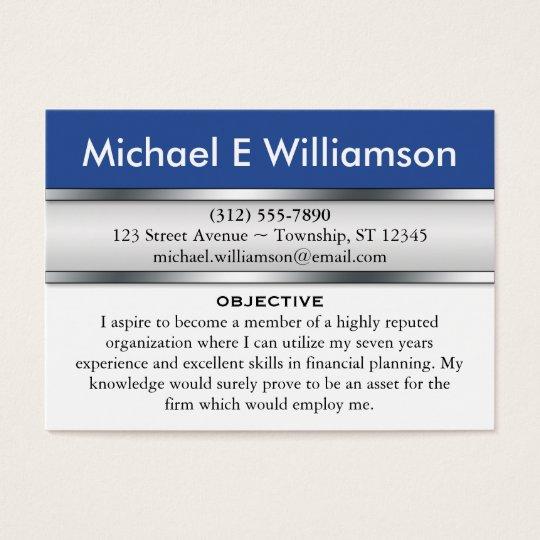 Blue Header RESUME Business Cards