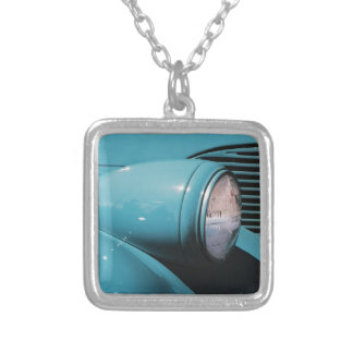 Blue Headlight Silver Plated Necklace