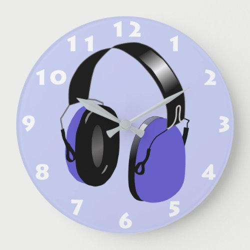 BLUE HEADPHONES ILLUSTRATION WITH WHITE NUMERALS LARGE CLOCK
