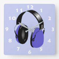 BLUE HEADPHONES ILLUSTRATION WITH WHITE NUMERALS SQUARE WALL CLOCK