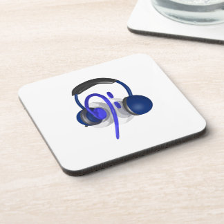 Blue Headset Playing Some Bass Beverage Coaster