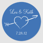 Blue Heart and Arrow Round Sticker