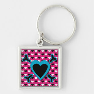 Blue Heart and Cross Bones on Heart bg Silver-Colored Square Keychain