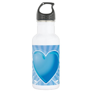 Blue Heart and Wings 18oz Water Bottle