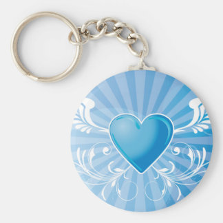 Blue Heart and Wings Basic Round Button Keychain