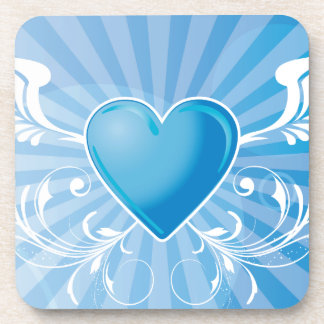 Blue Heart and Wings Beverage Coaster