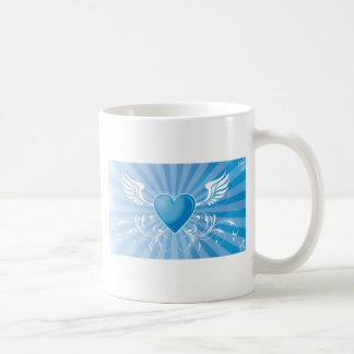 Blue Heart and Wings Classic White Coffee Mug
