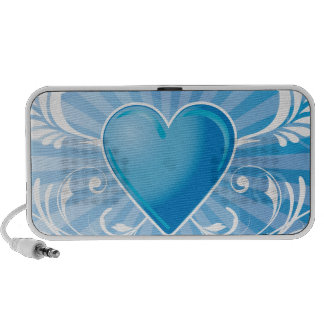 Blue Heart and Wings iPod Speaker