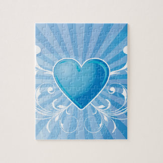 Blue Heart and Wings Jigsaw Puzzles