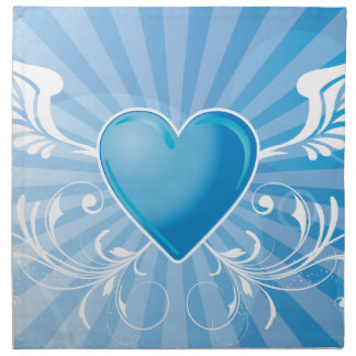 Blue Heart and Wings Napkins