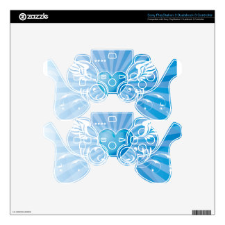 Blue Heart and Wings PS3 Controller Decals