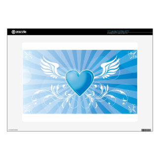 "Blue Heart and Wings Skin For 15"" Laptop"