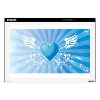Blue Heart and Wings Skin For Laptop