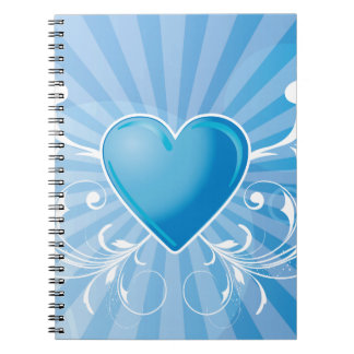 Blue Heart and Wings Spiral Notebook