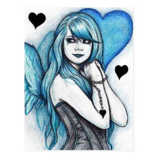 Blue Heart Angel Gothic Fantasy Postcard