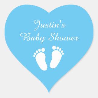 Blue heart baby boy footprints babyshower stickers