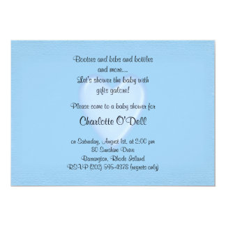 blue heart; baby shower 5x7 paper invitation card