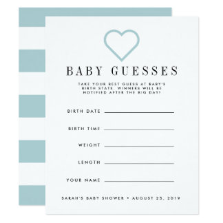 Blue Heart Baby Shower Guessing Game Card