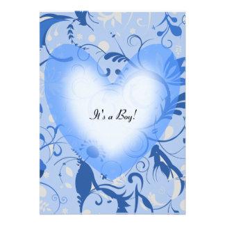 Blue Heart baby shower invitation