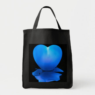 Blue Heart Grocery Tote Bag
