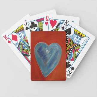 Blue Heart Bicycle Playing Cards