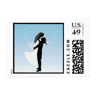 Blue Heart Bride And Groom Silhouette Postage