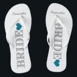 """Blue Heart Bride's Flip Flops<br><div class=""""desc"""">Fun,  custom wedding flip flops</div>"""