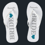"Blue Heart Bride's Flip Flops<br><div class=""desc"">Fun,  custom wedding flip flops</div>"