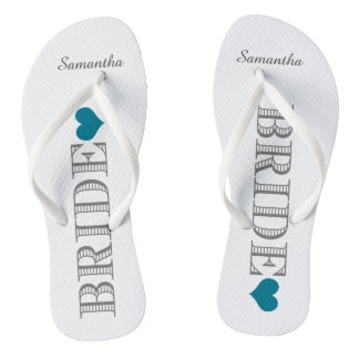 Blue Heart Bride's Flip Flops