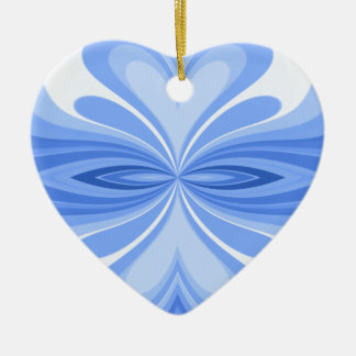 Blue Heart Butterfly Abstract Ceramic Ornament